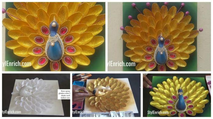How To Make Creative Peacock Using Plastic Spoons Wall Decoration Artsycraftsydad