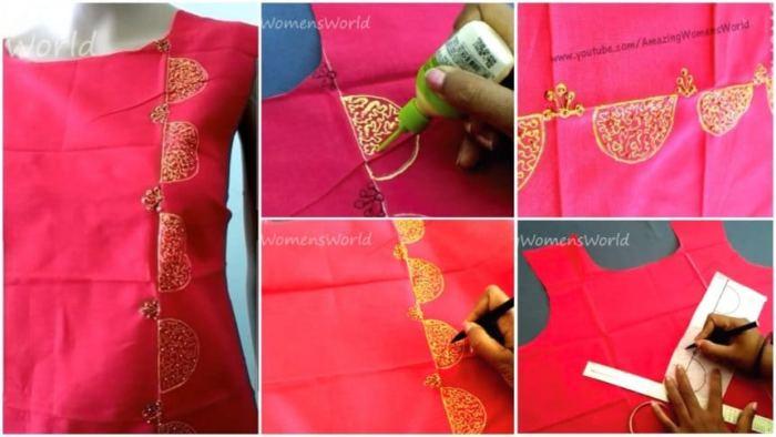 Liquid Embroidery With Beads Design On Kurti Artsycraftsydad