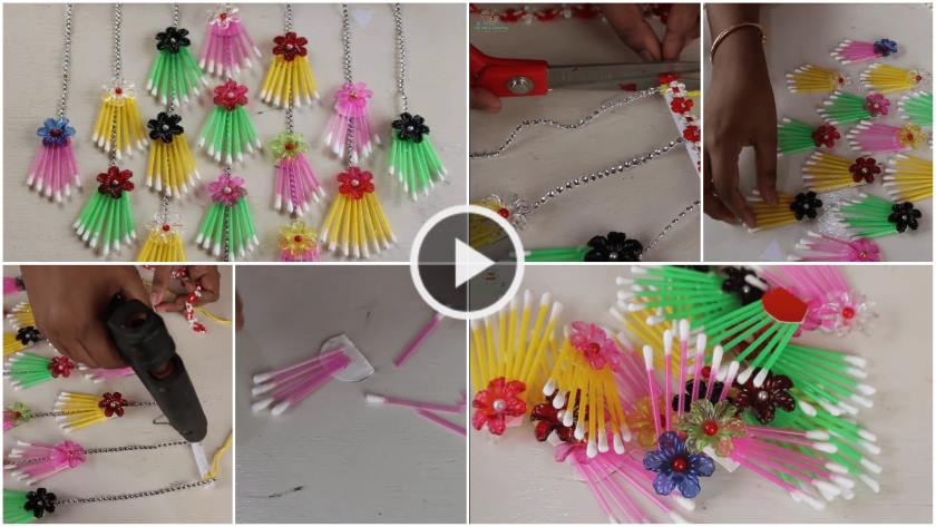 How To Make A Wall Hanging Using Cotton Buds Artsycraftsydad