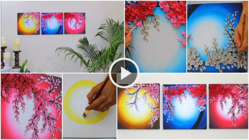 3D Floral Painting For Wall Decor-Shilpkar Art - ArtsyCraftsyDad
