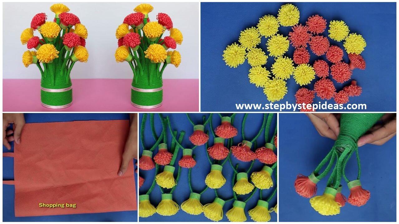 How To Make Flower Vase Using Cotton Buds Artsycraftsydad