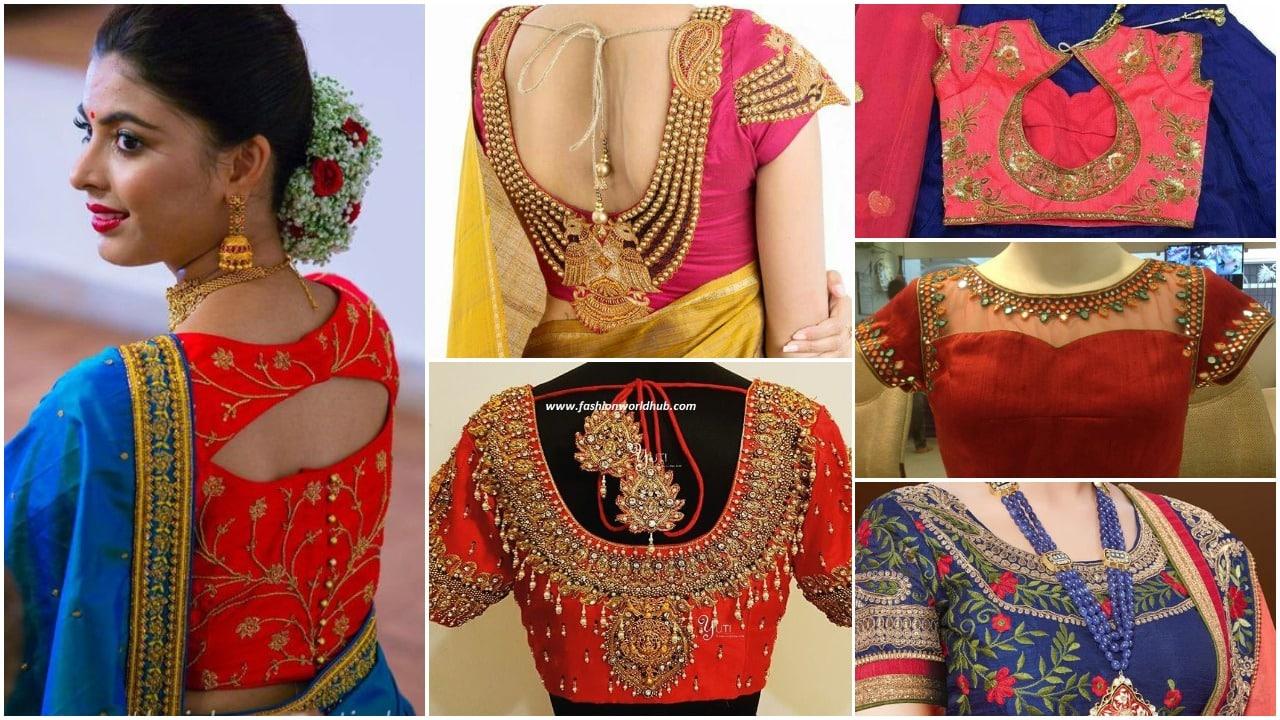 edfc56a07a8d4c Trendy Saree Blouse Designs For Silk Sarees 2018 - ArtsyCraftsyDad