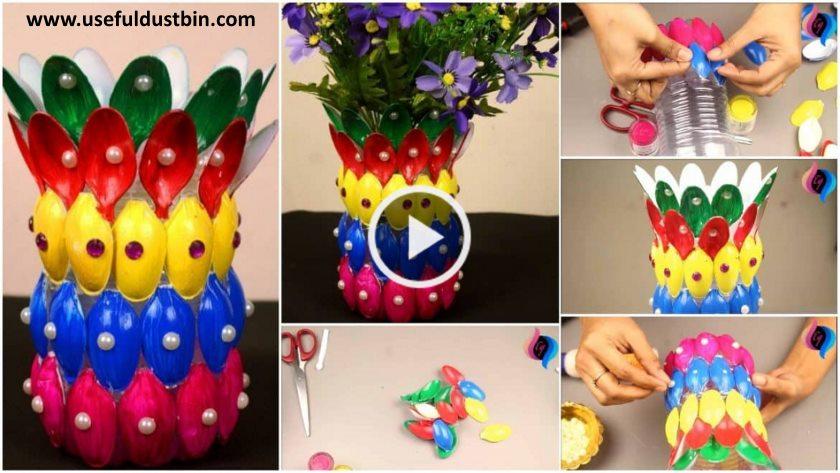 DIY Flower Vase Of Recycled Plastic Spoons - ArtsyCraftsyDad on best flower pots, best flower lamps, best flower paintings, best flower boxes, best flower bouquets, best flower arrangements, best flower centerpieces,